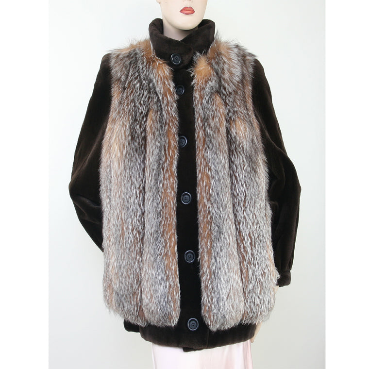 Nordstrom Brown Sheared Mink Jacket With Natural Fox Fur Vest Multi Brown Coat Size M