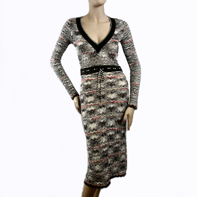 Missoni Long Sleeve V Neck Brown Multi Color Knit Dress  Size 6