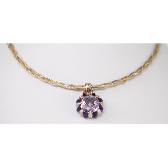 Le Vian 3pc 14K Rose Gold With Chip Diamonds & Amethyst Ring, Necklace, & Pendant Drop  Size 7