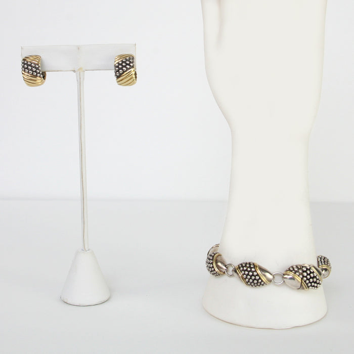 Lagos Earrings & Bracelet Sterling Silver & 14K Gold
