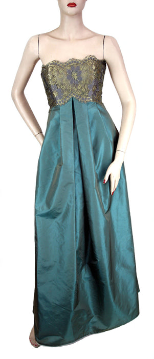 Victor Costa Strapless Gold Lace Bodice with Teal Skirt Dress & Lace Jacket Size 8