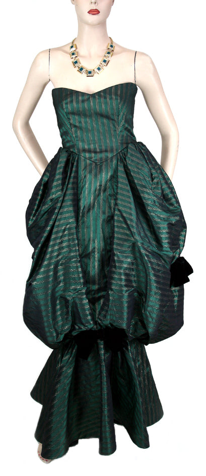 Vintage Michael Novarese Strapless Bustle Green Taffeta Dress Size 4