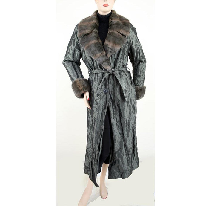Vebo Italy Long Sleeve Button Front with Rabbit Fur Collar & Cuffs Spruce Coat Size S/M