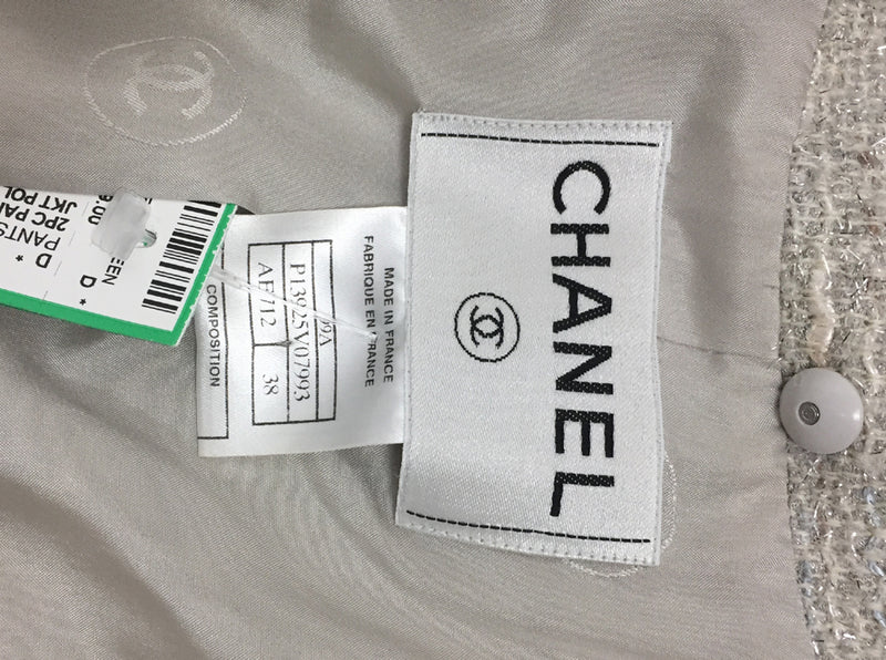 Chanel 2pc Pantsuit with Leather Pants and Poly Blend Jacket / size 6/8