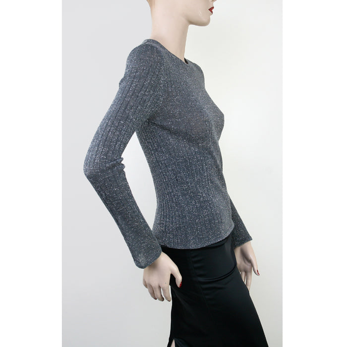 Long Sleeve Boat Neck With Metallic Grey Sweater Size 6/8