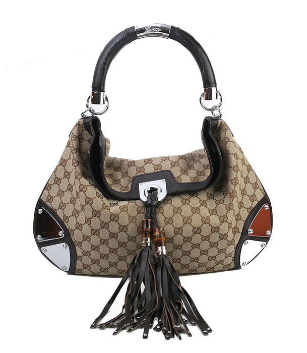 Gucci Babouska Indy Satchel Logo Print Body Leather & Tassel Trim Brown Handbag