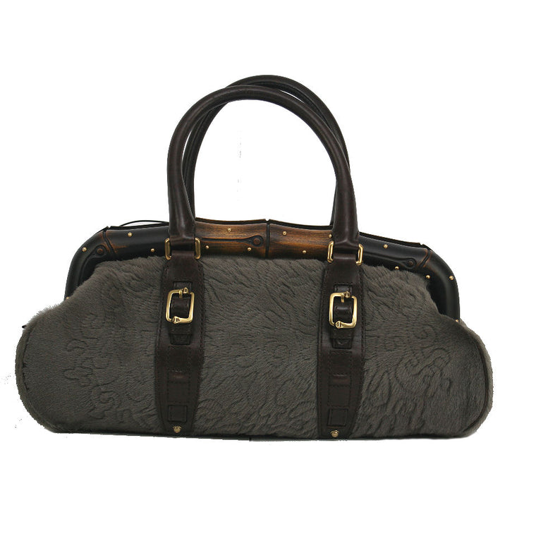 Gucci Leather Handle with Wood Frame & Cotton Stitched Body Grey Handbag