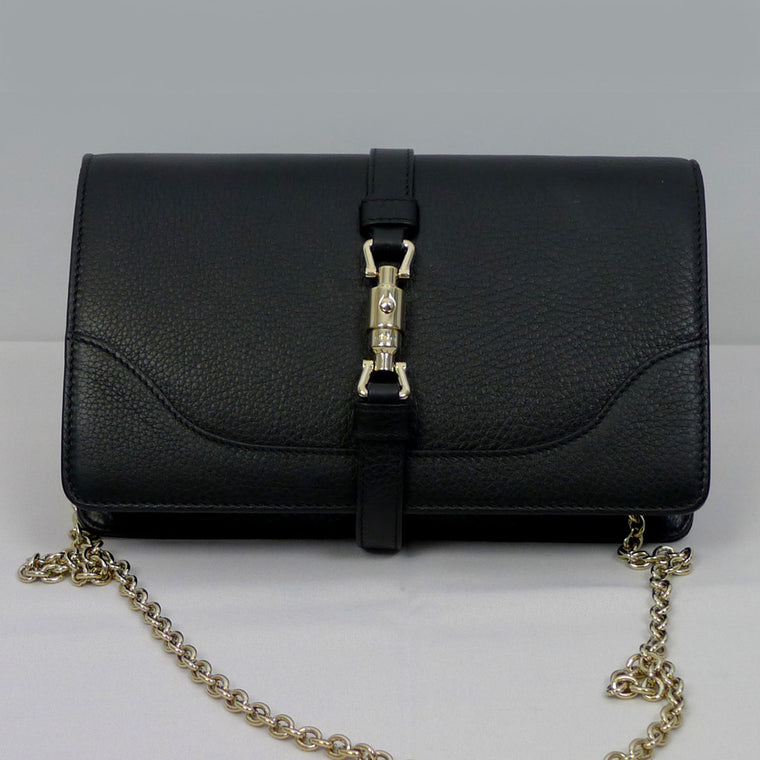 "GUCCI ""Broadway"" Black Leather Clutch"
