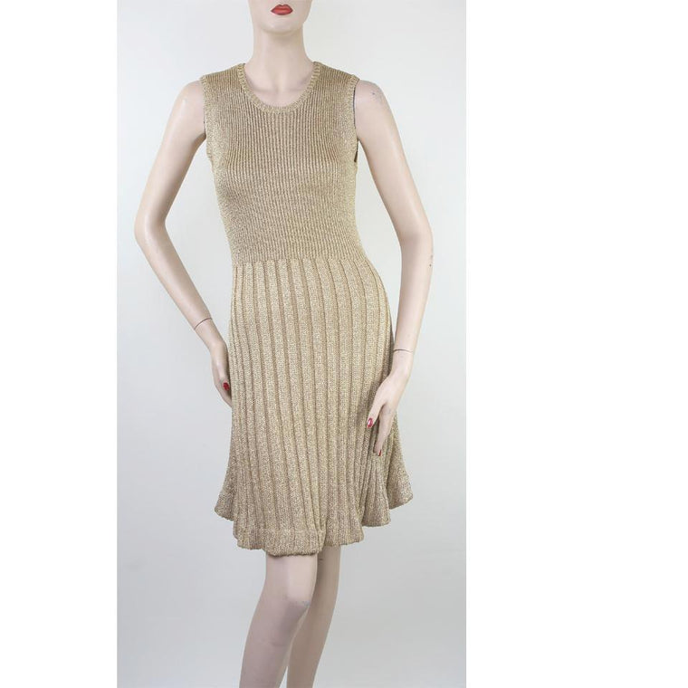 Hanley Sleeveless Full Skirt Knit Gold Dress Size 6/8