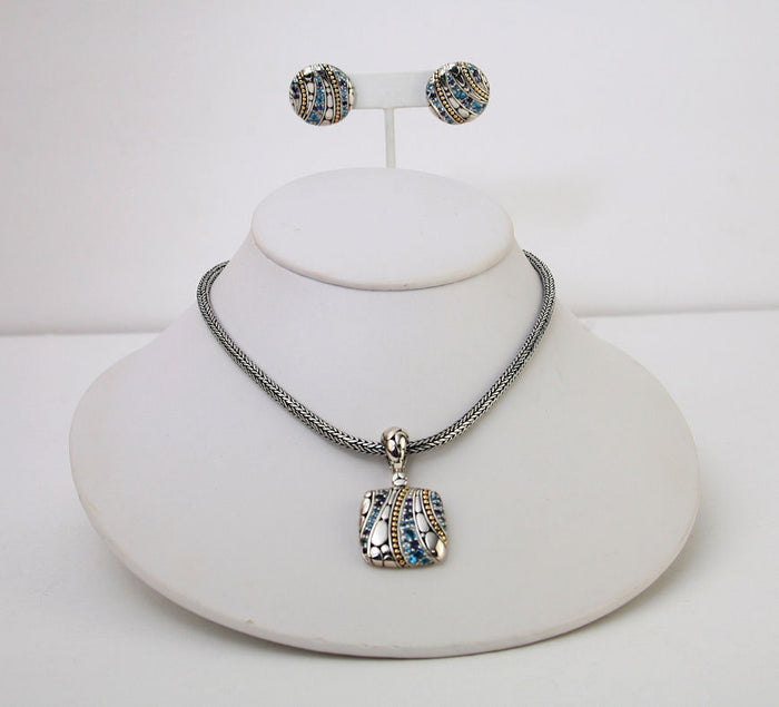 John Hardy 2pc Sterling Silver & 18K Gold With Aquamarine Stones Earrings & Pendant