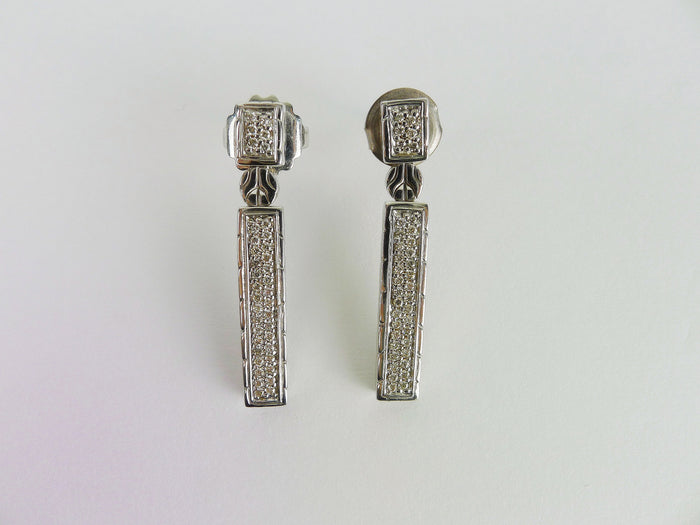 John Hardy Sterling Linear With Diamonds Earrings
