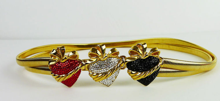 Judith Lieber Stretch Gold Metal With Black, Red & White Crystal Hearts Belt Size S/M