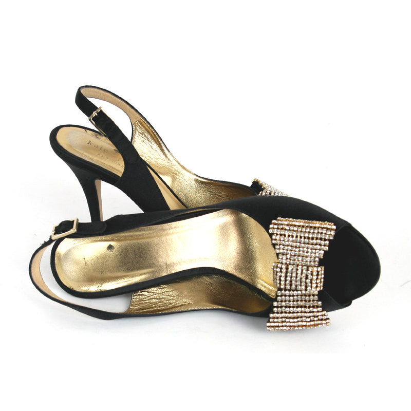 Kate Spade Open Toe Sling w/ Crystal Bow Black Shoes Size 6.5