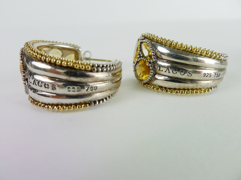 Lagos Hoop Earrings & Bracelet 18K Gold & Sterling Silver With Citrine Stones