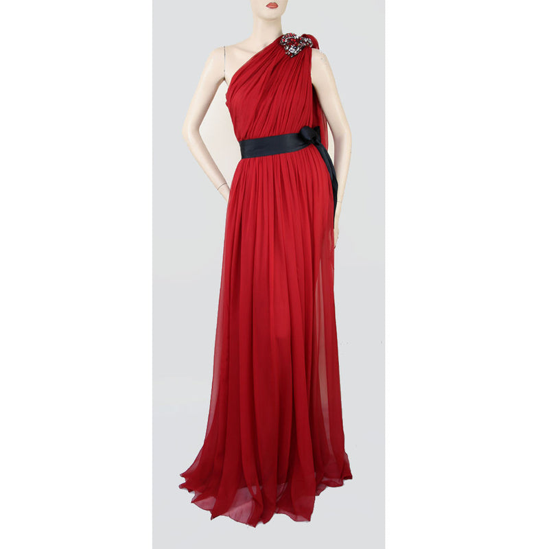 Lanvin One Shoulder Crystal Trim Silk Red Evening Gown Size 2