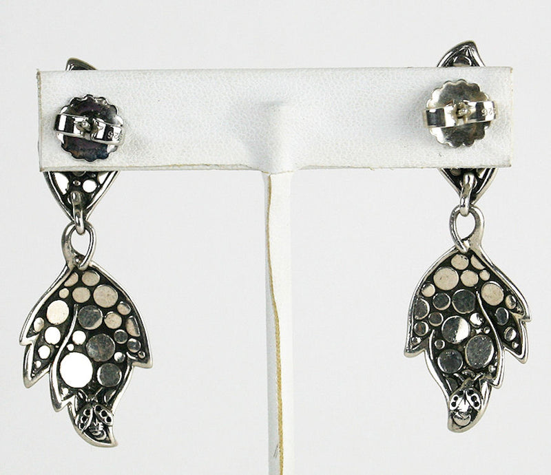 John Hardy Textured Drop Leaf Sterling Silver Earrings