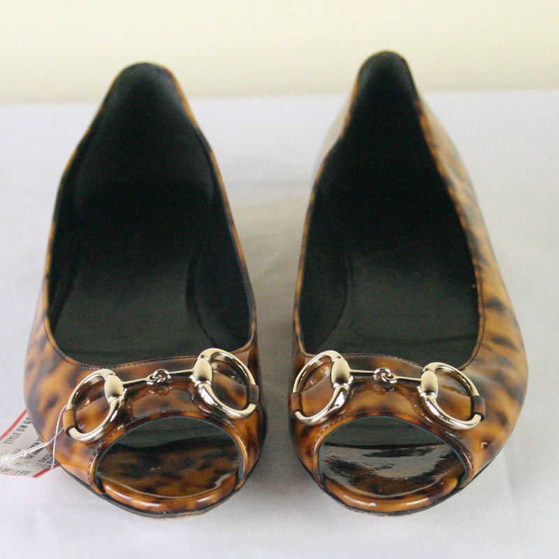 Gucci Open Toe Flat Animal Print Shoes Size 8.5