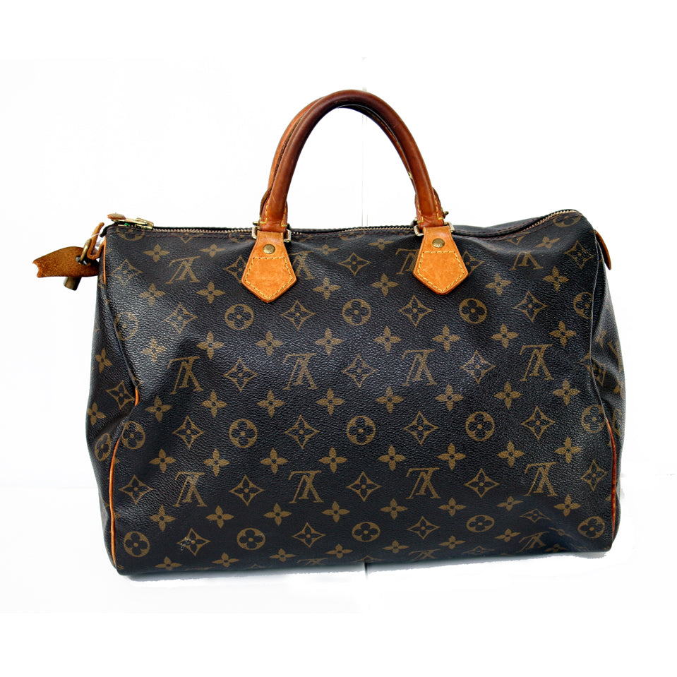 Louis Vuitton Spreed Zip Top Brown Print Handbag