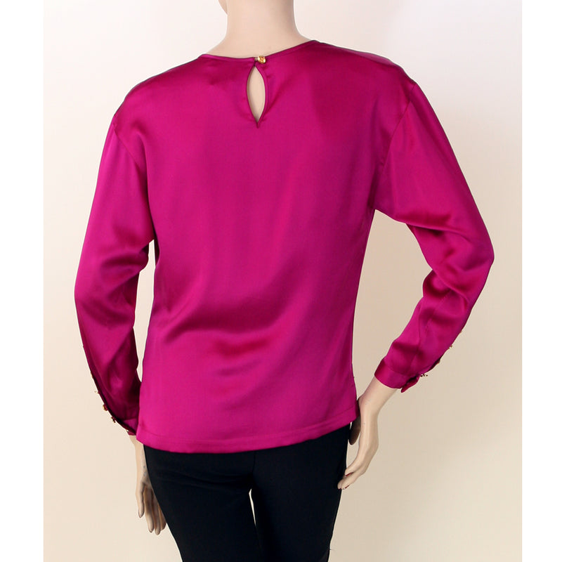 Chanel Long Sleeve Pull Over Magenta Blouse Size 4/6