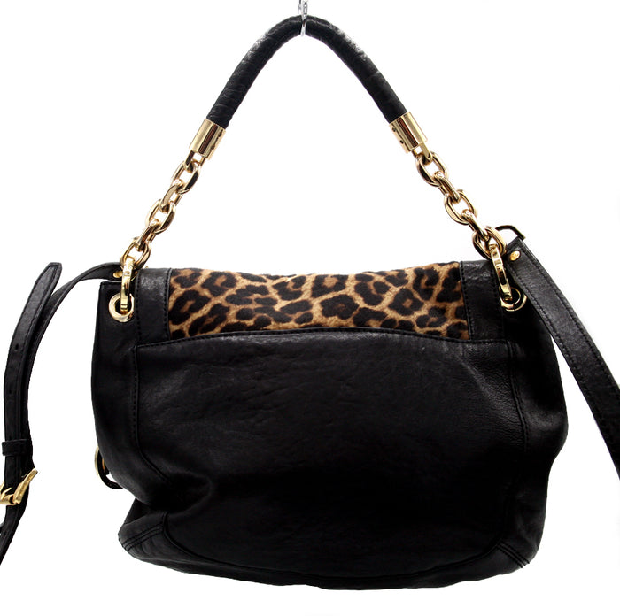 Michael Kors Front Flap w/ Animal Print Calf Hair Leather Handbag