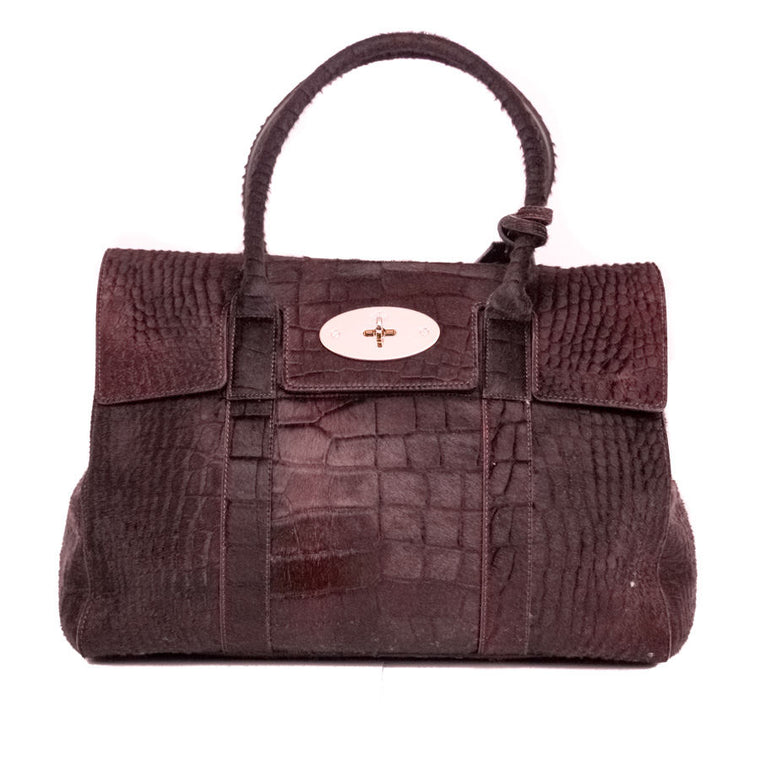 Mulberry Calf Hair Burgundy Handbag