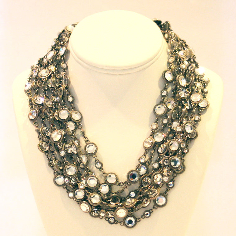 Chanel Torsade Rhodium & Crystal Multi Chain Necklace