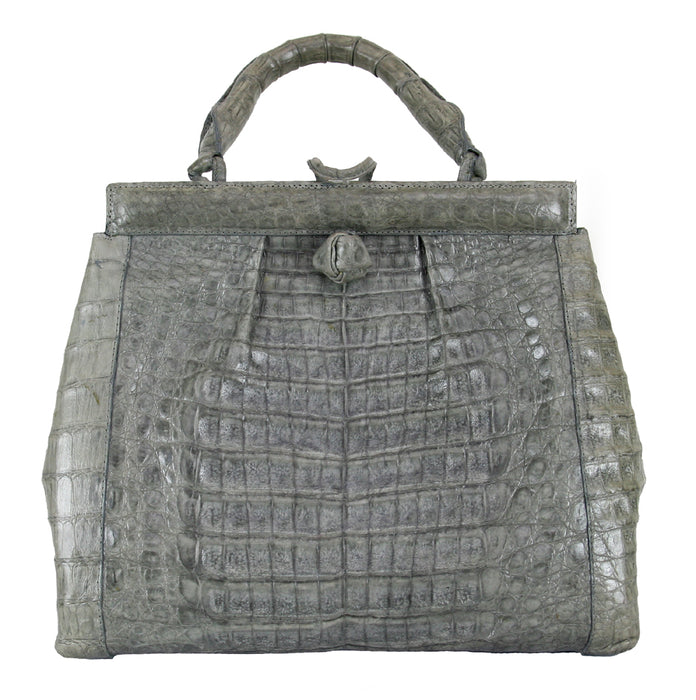 Nancy Gonzales Crocodile Grey Satchel Handbag