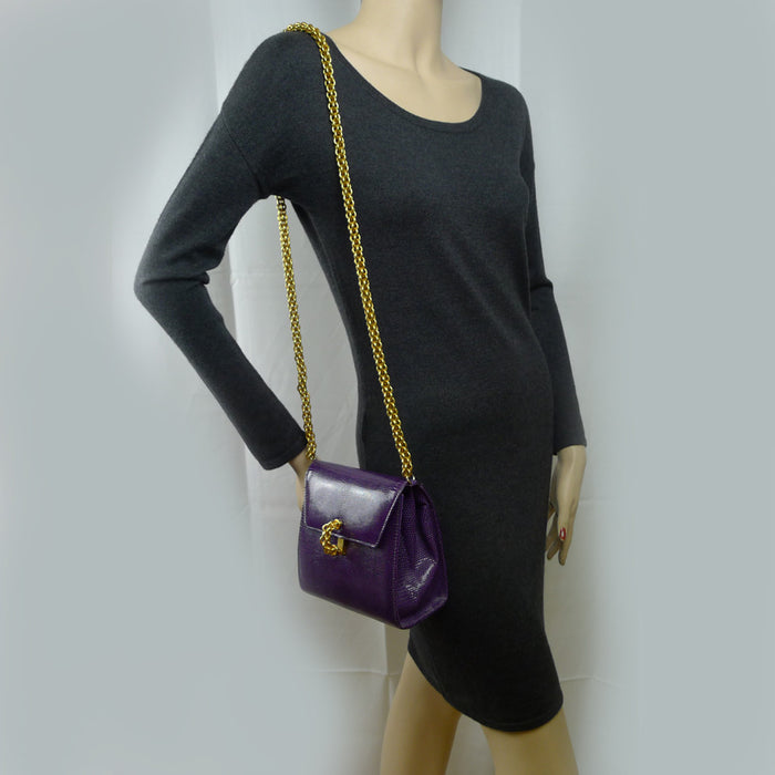 Paloma Picasso Chain and Clasp Purple Lizard Handbag