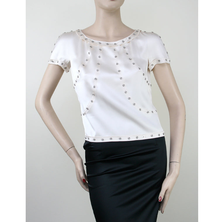 Chanel Short Sleeve Silver Snap Trim Silk Cream Blouse Size 4