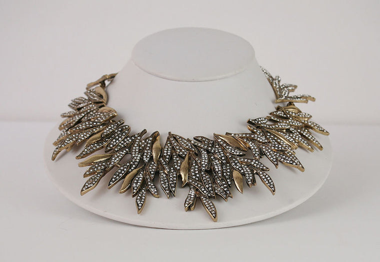 Oscar De La Renta Couture Gold Collar With Crystals Necklace