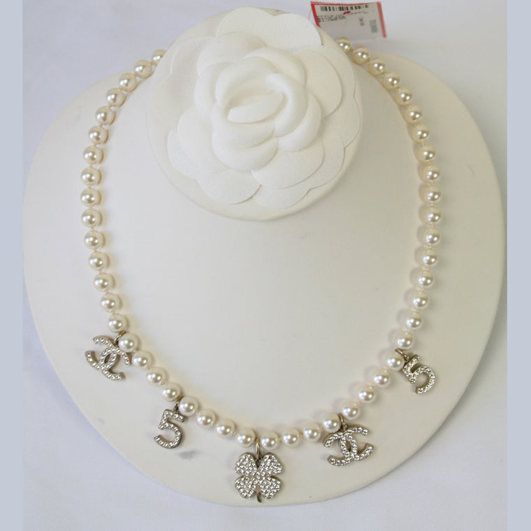 CHANEL Pearl Necklace w/ Crystal Shamrock, 5 & CC Charms