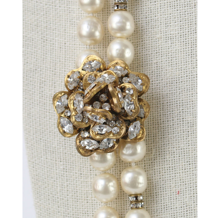 Chanel Vintage Long Cream Pearls With Gold Crystal Camellia Flower Necklace