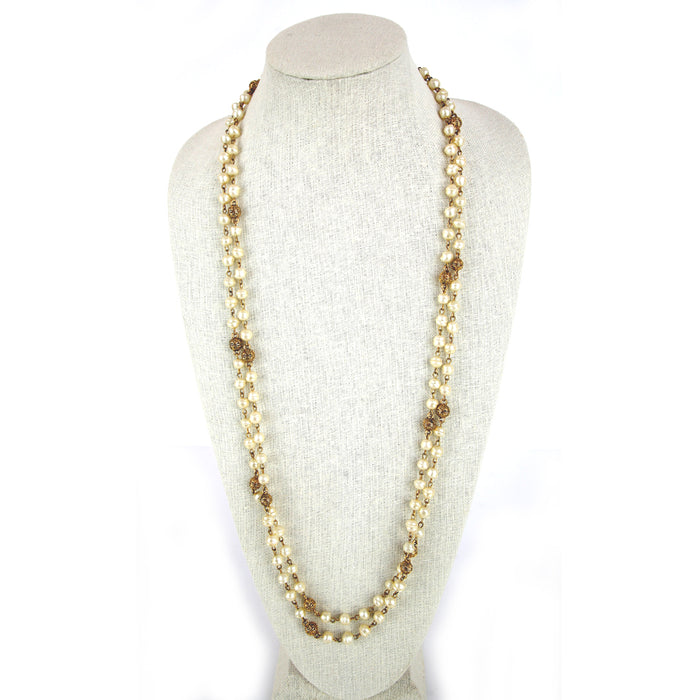 Vintage 1980's Long White Pearls with Round Textured Gold Stations