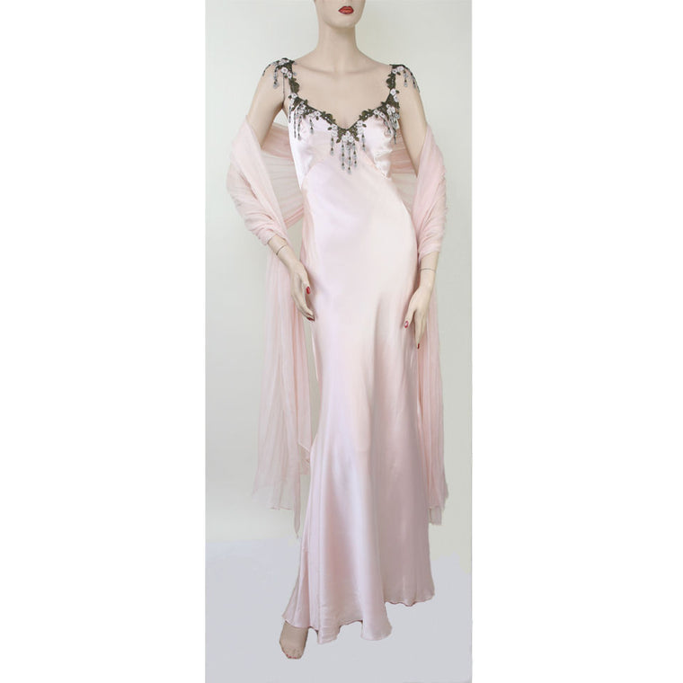 Custom Cami Straps V-Neck With Shawl Long Evening Pink Dress Size 6/8