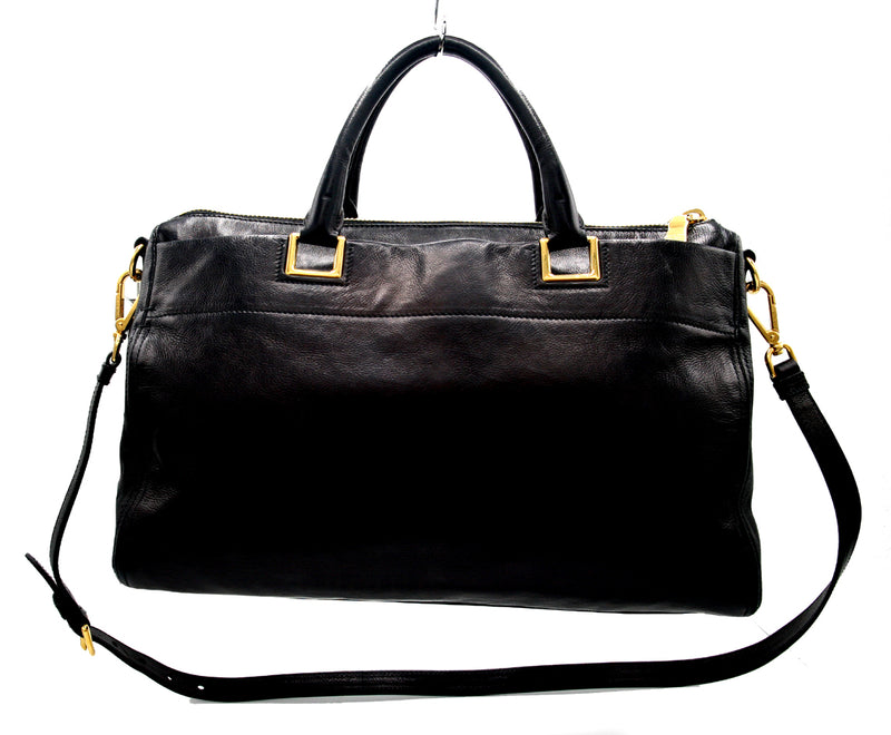 Prada Top Zip Black Leather Handbag