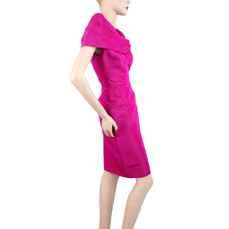 Oscar De La Renta Sleeveless Portrait Neckline Fuchsia Dress Size 2
