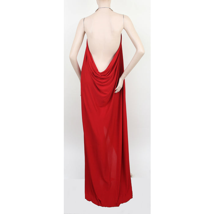 Michael Kors Halter Metal Neck Red Evening Dress Size 8