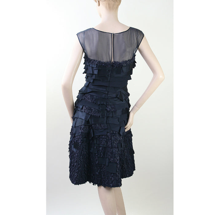 Oscar De La Renta Cap Sleeve Shear Bodice With Layered Ribbon Navy & Black Dress Size 4