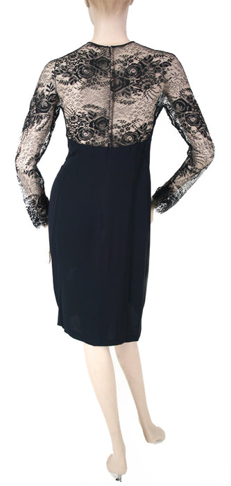 Galanos L/S Lace & Silk Black Dress Size 6