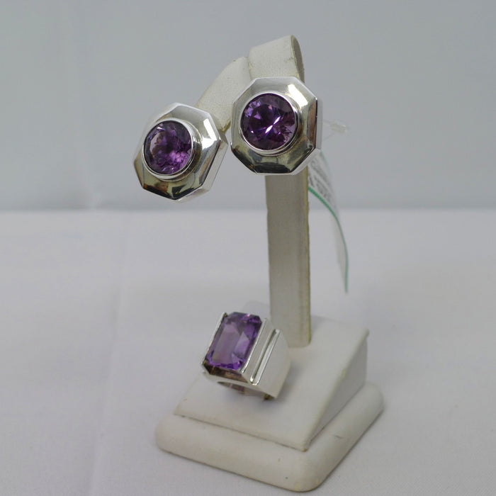 PATRICIA VON MUSULIN 2pc Sterling Silver Ring & Earrings with Faceted Crystal Amethyst