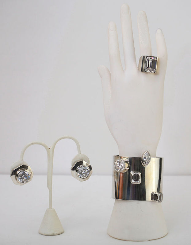 M & J Savitt 3pc Suite Bracelet, Earrings & Ring Size 6