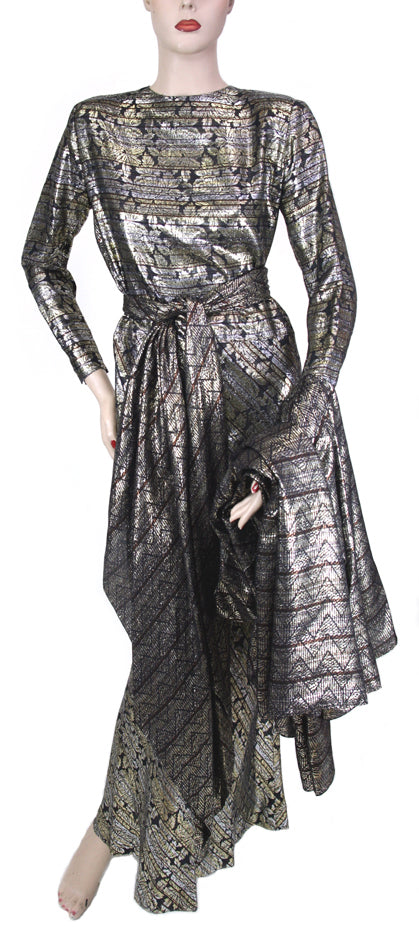 Ron Leal L/S Button Back Gold Black Lame Gown with Scarf Size 6