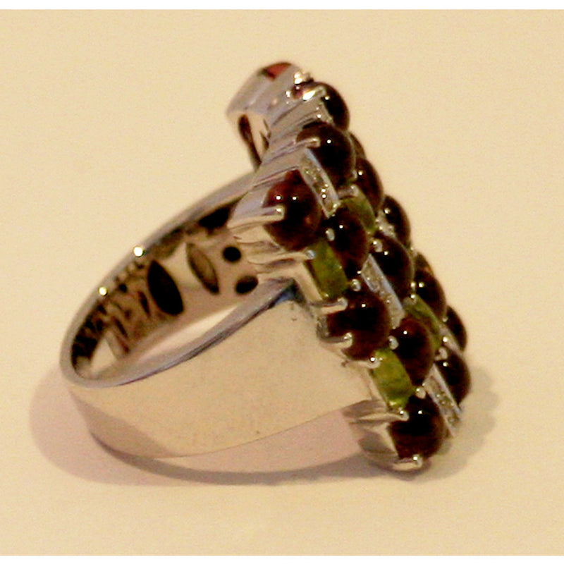 Emerald & Pave Diamonds With Rubies 18K White Gold Ring Size 7