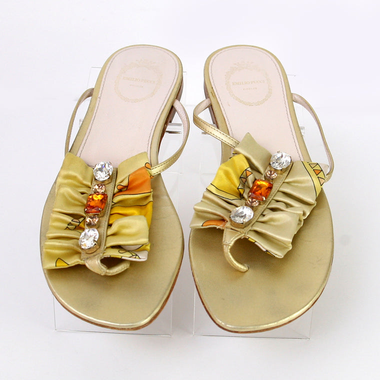 Emilio Pucci Flat Thong Crystal & Fabric Trim Gold Sandals Size 9
