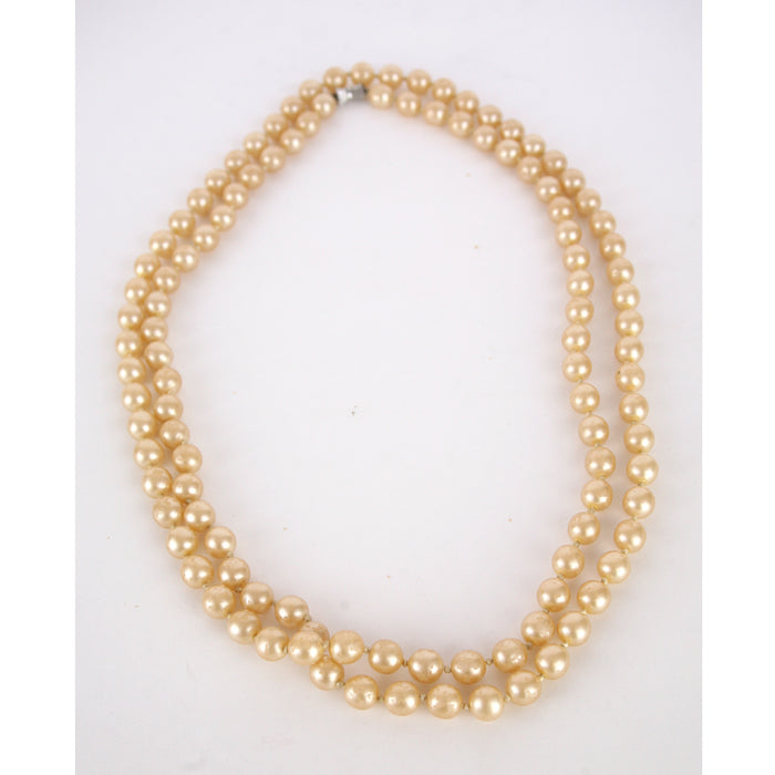 Vintage 1980's Long Cream Pearls Necklace
