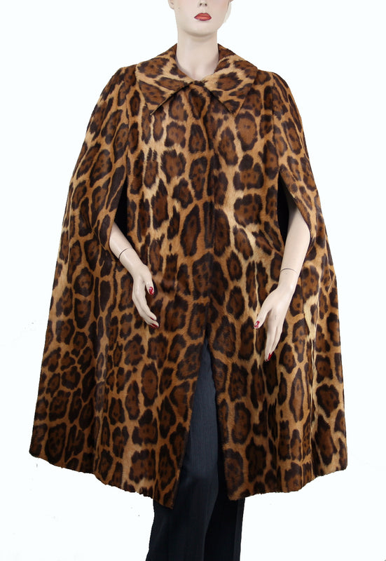 Mr. Blackwell Animal Print Faux Fur Cape Size M/L