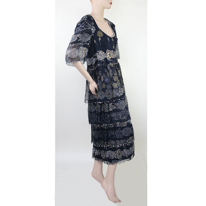 Zandra Rhodes Vintage Short Sleeve Scoop Neck Long Evening Black Print Dress Size 10/12