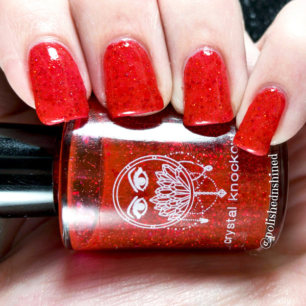 red glitter nail polish crystal knockout all dressed in red