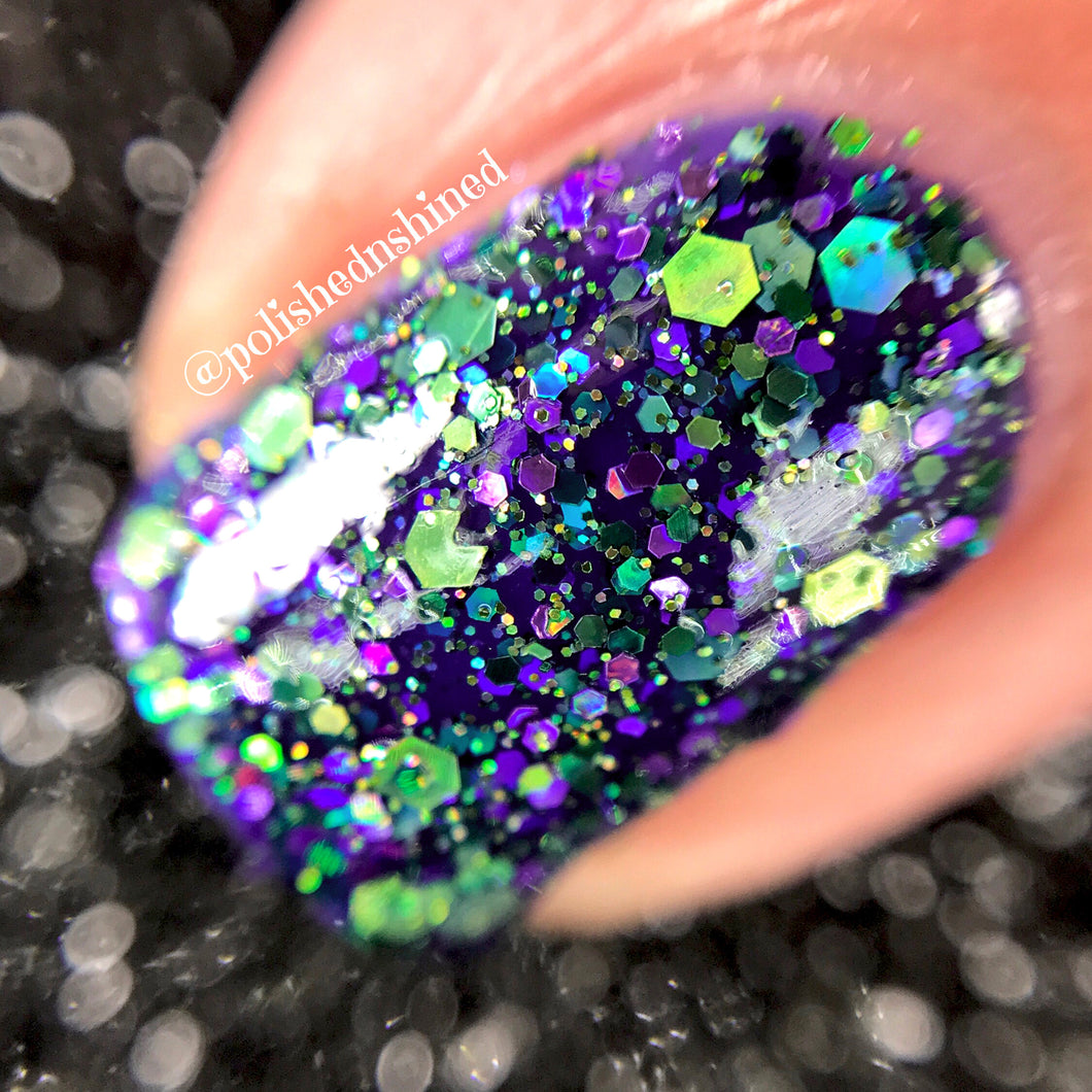 purple green glitter nail polish crystal knockout all night glow stick