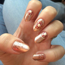 pink metallic nail polish crystal knockout copper roses shimmer nail art